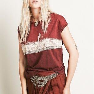 FREE PEOPLE Thunder Moon Abstract Graphic Tee M
